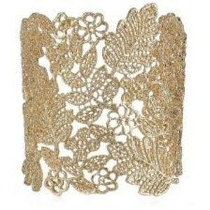 Chantilly Floral Lace Gold Wide Cuff Bracelet